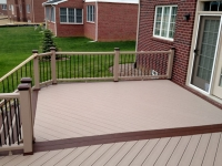 TREX ROPESWING RAILING WITH FIREPIT CAPS AND SKIRTS
