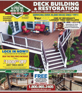 supreme deck builders michigan, trex pro platinum, bloomfield south lyon, livonia, canton, novi, northville